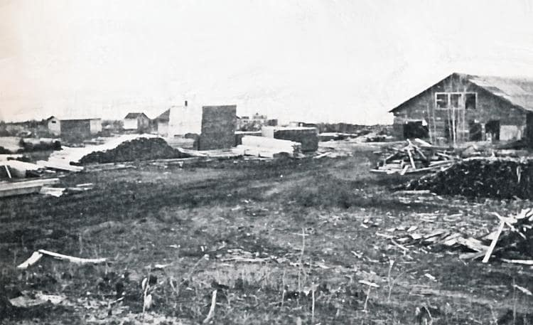 Mill yard at Stoney Lake after construction around 1936.