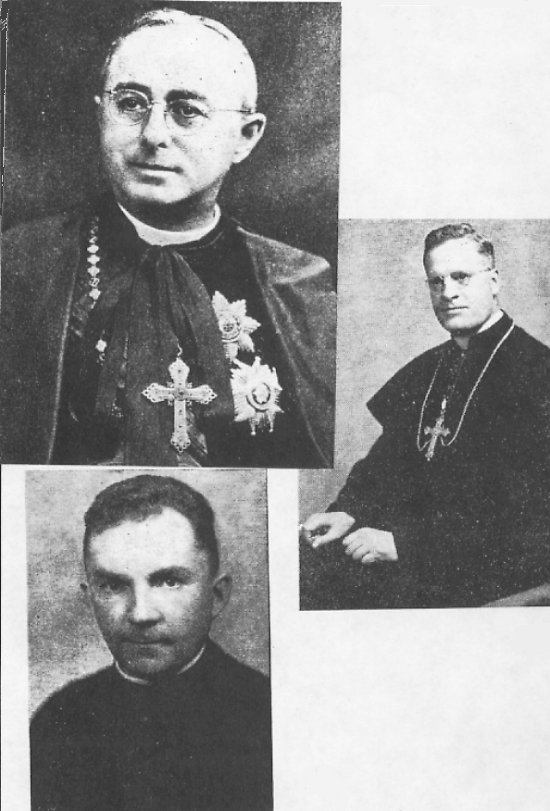 Top: Cardinal Villeneuve, Center right: Bishop Lejeunesse, Bottom left: Father Guy Remy, OMI, pastor during the 1946 centennial.