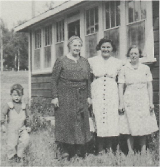 From the left: Glen Eldridge, Mrs. Sharp, Delea Eldridge and Mrs. Verner Johnson.