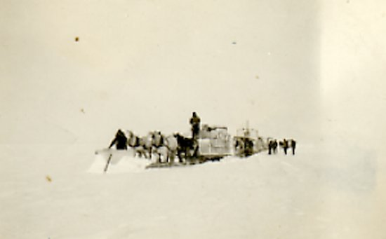 Harry Fredrickson on horse-drawn snowplough.