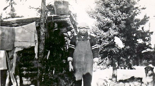 Ed Theriau at his trapping at Russell Lake.