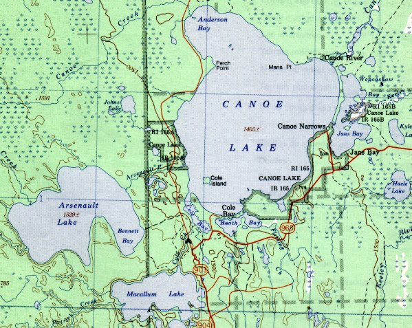 Map of Canoe Lake.
