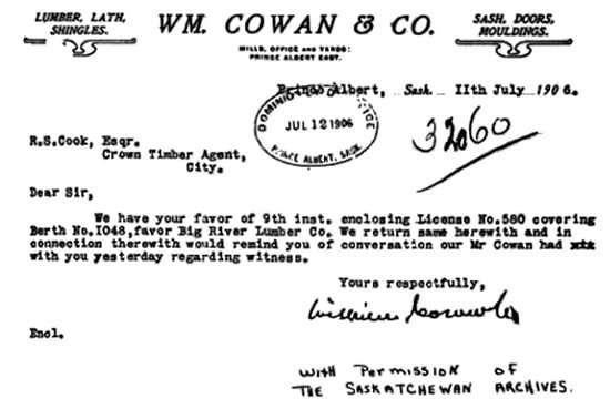 Timber berth granted to William Cowan 11 July, 1906