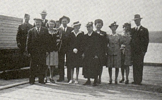 On the dock at Delaronde - a group of district people.