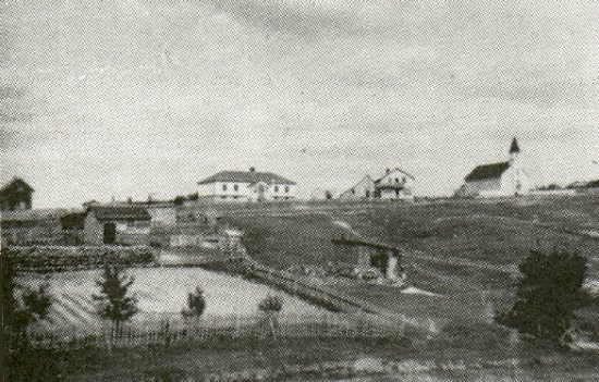 View of the hill, showing the school, Brownfield's Store and the R.C. Church.