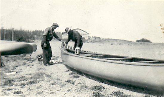 Fred repairing a canoe
