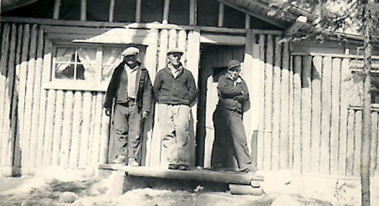 Left to right: Ed Theriau, unknown, Fred Darbyshire at Reindeer Lake