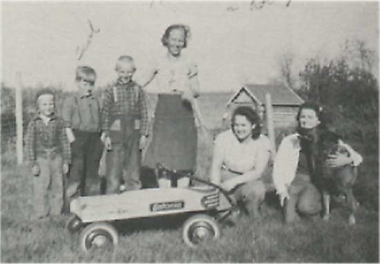 Mrs. Fredrickson and her boys, with Ted Johnson and two hired hands.