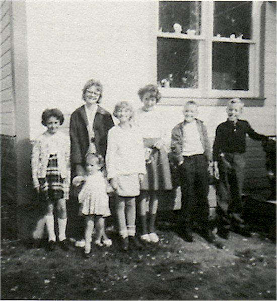 Sunday School Class 1964. Left to right: Ida Mae Johnson, Darlene Viden, Darlene Edquist, Susan Johnson, Edwin Edquist, Richard Johnson, and Shirley Johnson.