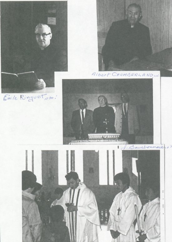 Oblates who have ministered in Ile a la Crosse<BR>Top left: Emile Ringuet OMI, Top Right: Albert Chamberland OMI, Center: J. Bourbonnais OMI, Bottom: James Fiori OMI.