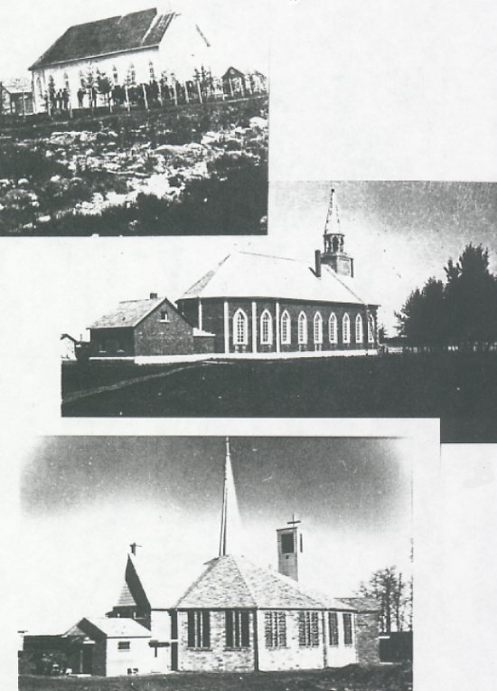 Top: Church built in 1897. Middle: 1897 - Church with bell tower added. Bottom: Church built in 1965.