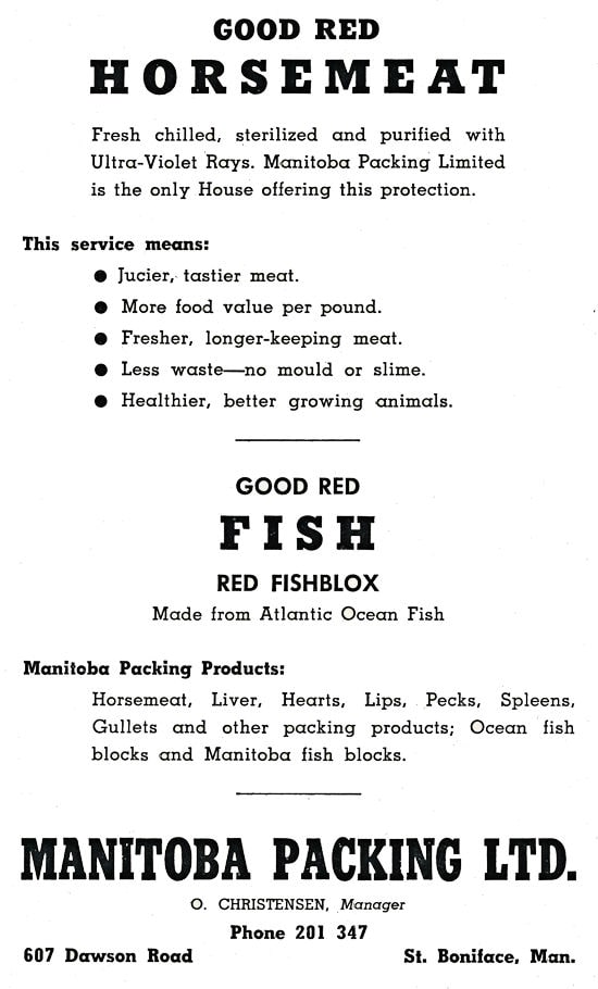 Manitoba Packing Ltd. Advertisment.