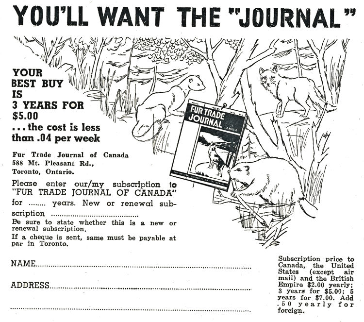 Fur Trade Journal of Canada Advertisment.