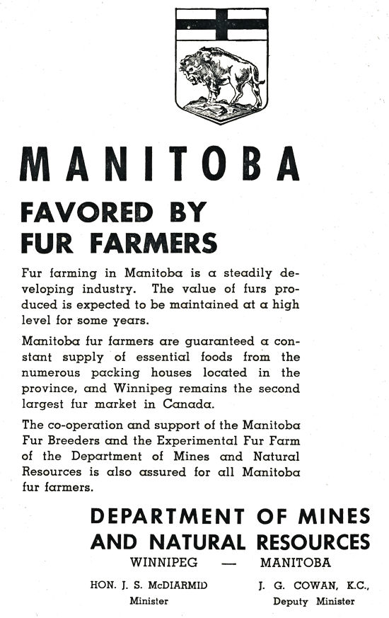 Manitoba Dept. Natural Resources Advertisment.