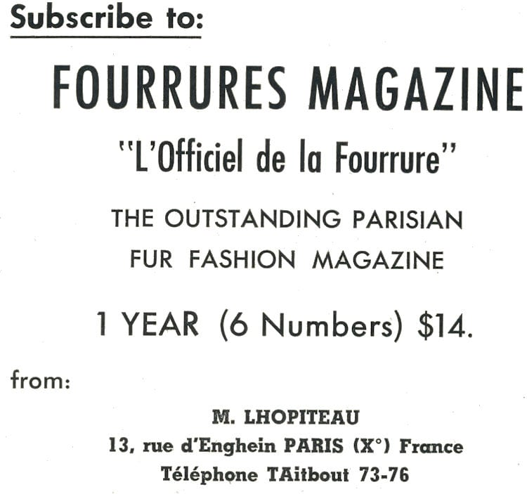 Fourrures Magazine Advertisment.