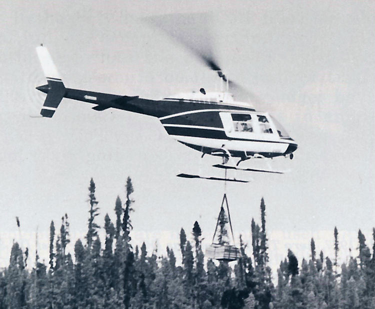 An Athabaska Airways helicopter.