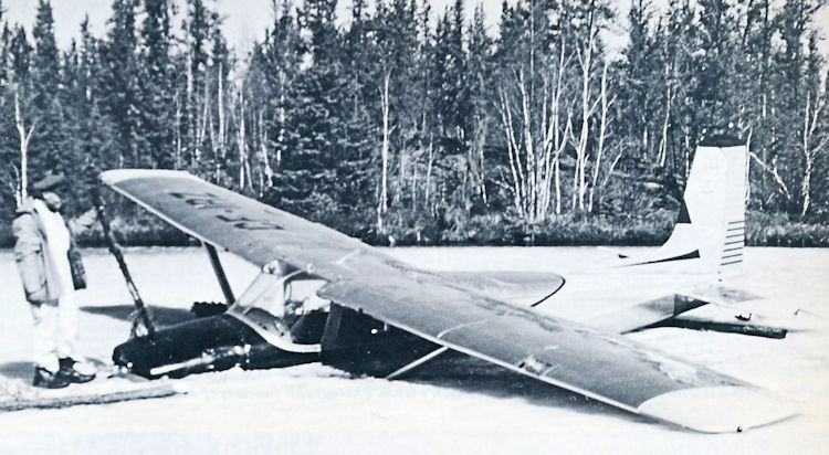 An SGA Cessna 180 landed on the Clearwater River with engine trouble and a second Cessna bringing in assistance went through the soft spring ice. Above, pilot Jim Barber with Cessna 180 CF-IRZ. Photograph courtesy of John Finch.