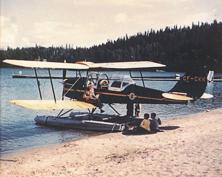 Leonard Johnson with a Tiger Moth at Beaver Lake.