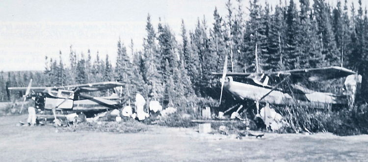 Both Cessna planes are repaired on the shore.